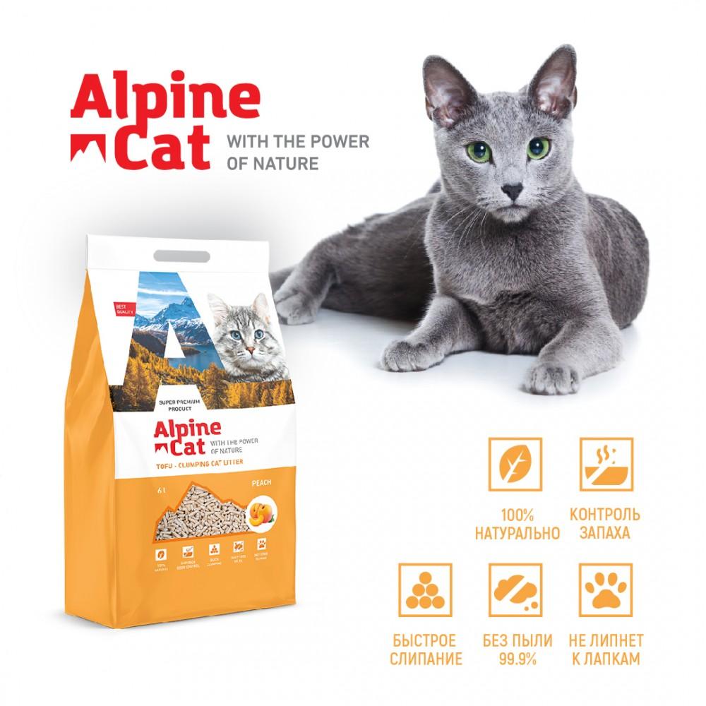 Alpine cat комкующий наполнитель ТОФУ с ароматом персика,6л.(2,6 кг.)
