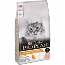 Pro Plan Elegant,сухой корм для взрослых кошек для поддержания красоты шерсти и здоровья кожи, с лососем,уп.10 кг.