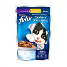 Felix,кусочки с ягненком и курицей в желе для кошек,пауч 85гр.