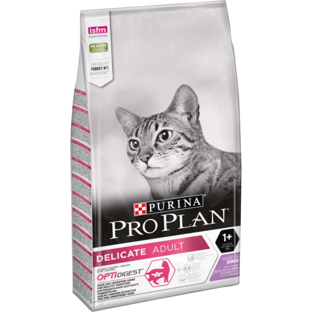 Pro Plan Delicate,сухой корм для кошек с чувствительным пищеварением, с индейкой, уп. 10 кг
