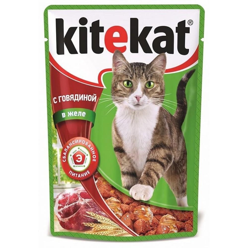 Kitekat влажный корм для кошек с говядиной в желе,85 гр.