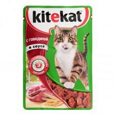 Kitekat влажный корм для кошек с говядиной в соусе,85 гр.