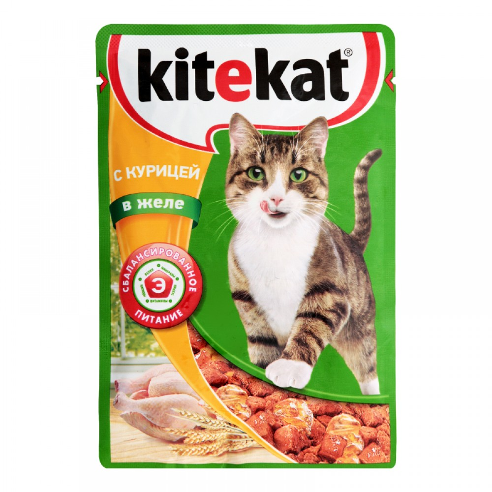Kitekat влажный корм для кошек с курицей в желе,85 гр.