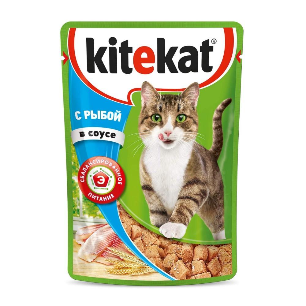 Kitekat влажный корм для кошек с рыбой в соусе,85 гр.