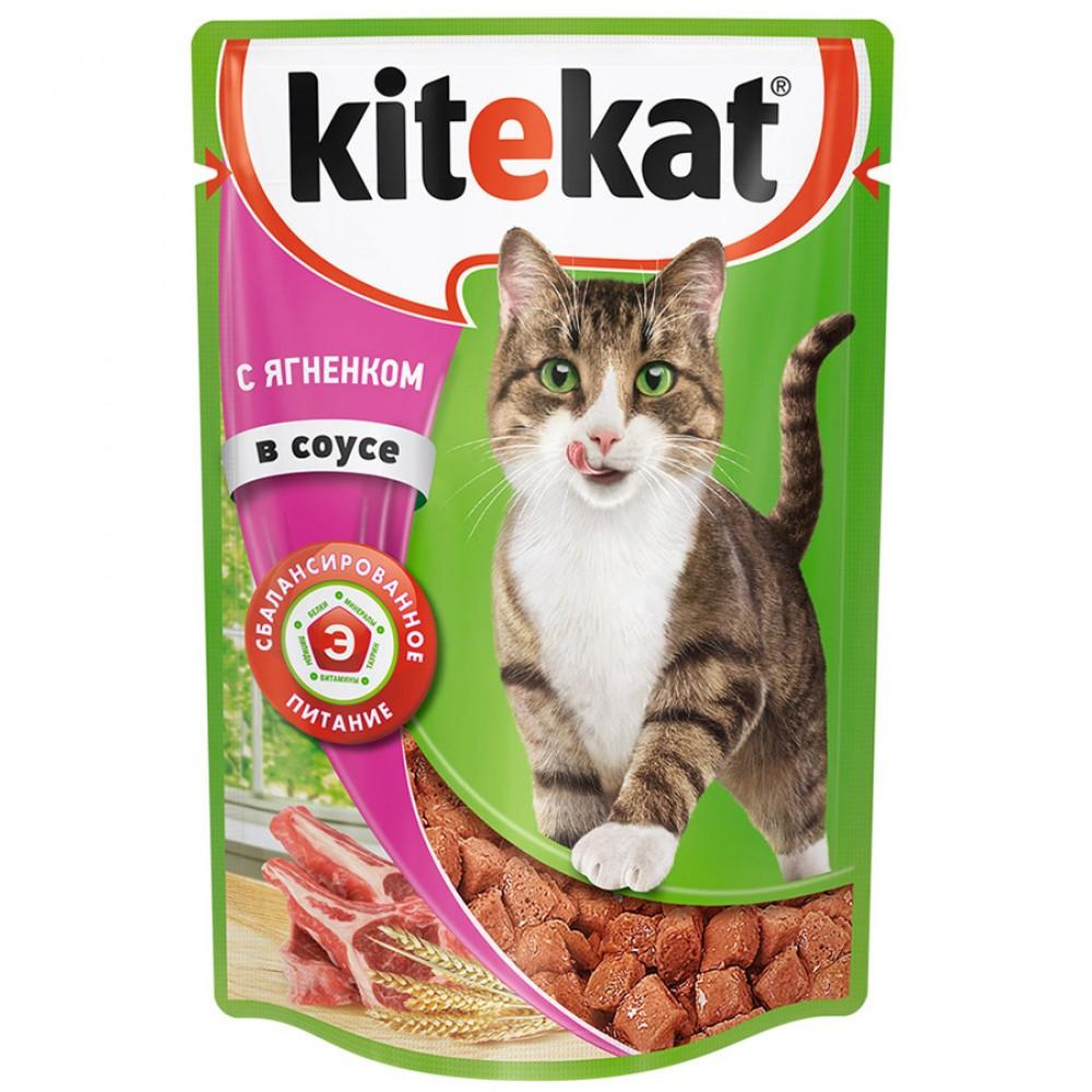 Kitekat влажный корм для кошек с ягнеком в соусе,85 гр.