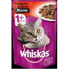Whiskas,влажный корм для кошек желе с говядиной и ягненком,85 гр.