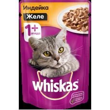 Whiskas,влажный корм для кошек желе с индейкой,85 гр.
