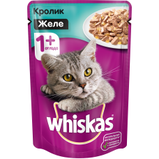 Whiskas,влажный корм для кошек желе с кроликом,85 гр.