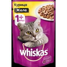 Whiskas,влажный корм для кошек желе с курицей,85 гр.