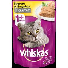 Whiskas,влажный корм для кошек паштет из курицы и индейки,85 гр.