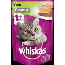 Whiskas,влажный корм для кошек паштет из утки,85 гр.