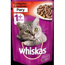 Whiskas,влажный корм для кошек рагу с говядиной и ягненком,85 гр.
