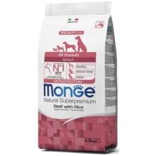 Monge Dog All Breeds Adult Beef&Rice,сухой корм для взрослых собак с телятиной и рисом,уп.2,5 кг.
