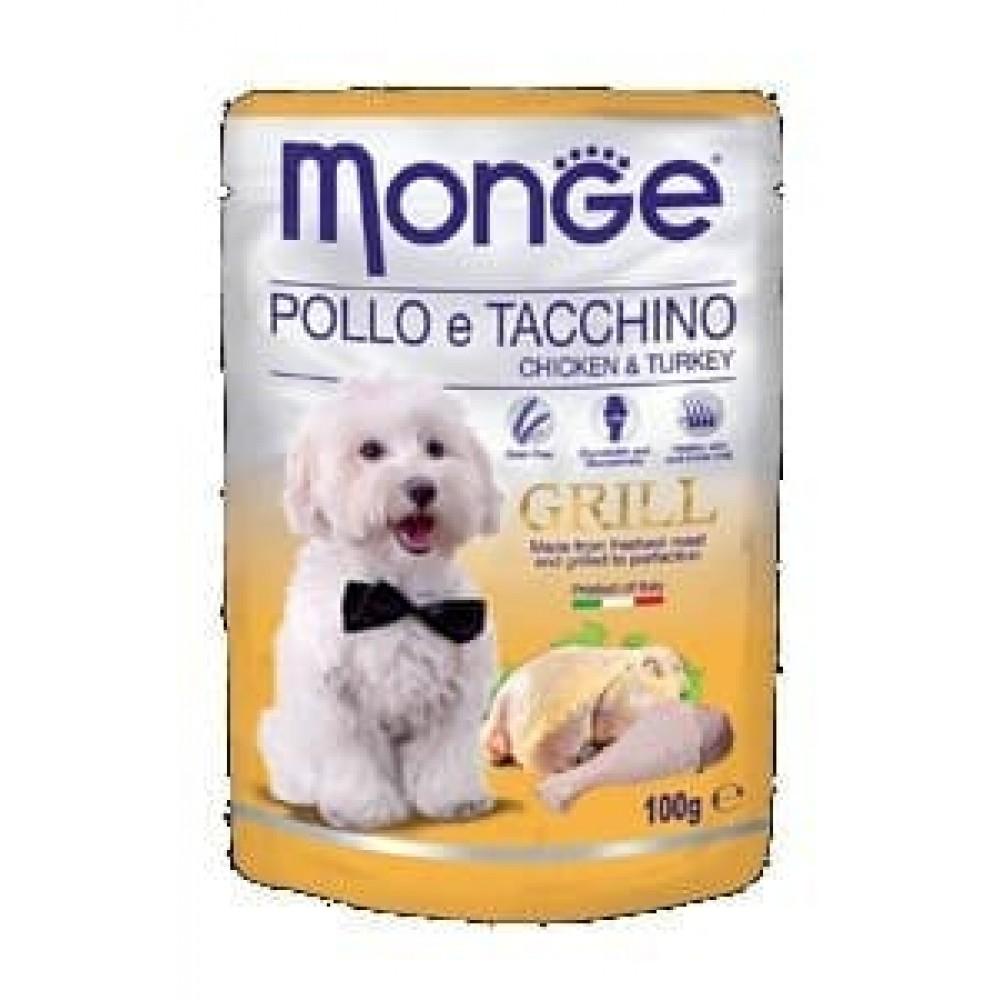 Monge Dog Grill,влажный корм для собак c курицей и индейкой,уп.100 гр.