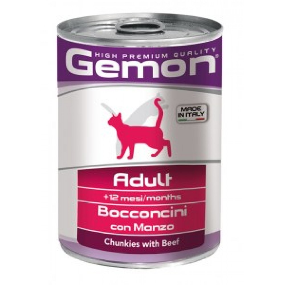 Gemon Cat Chunks Adult,кусочки для кошек с говядиной,банка 415 гр.