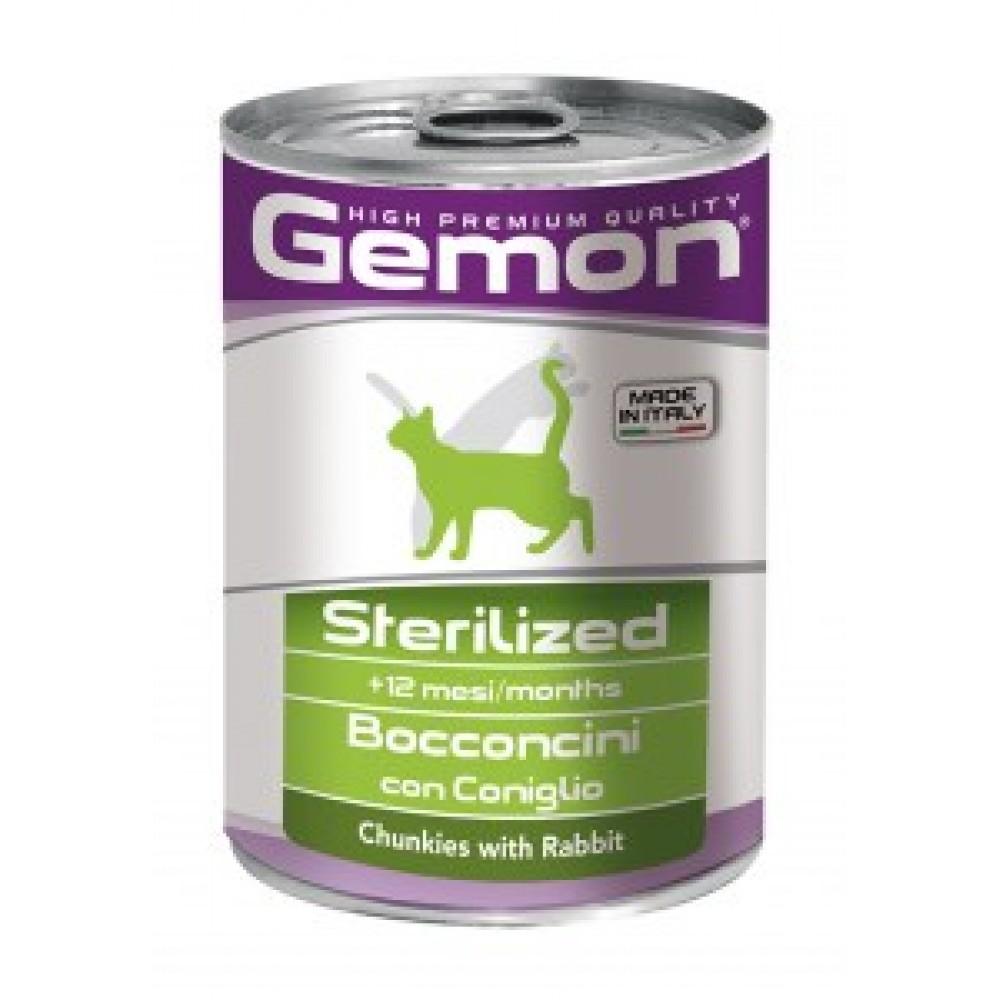 Gemon Cat Chunks Sterilised,кусочки для стерилизованных кошек с кроликом,банка 415 гр.