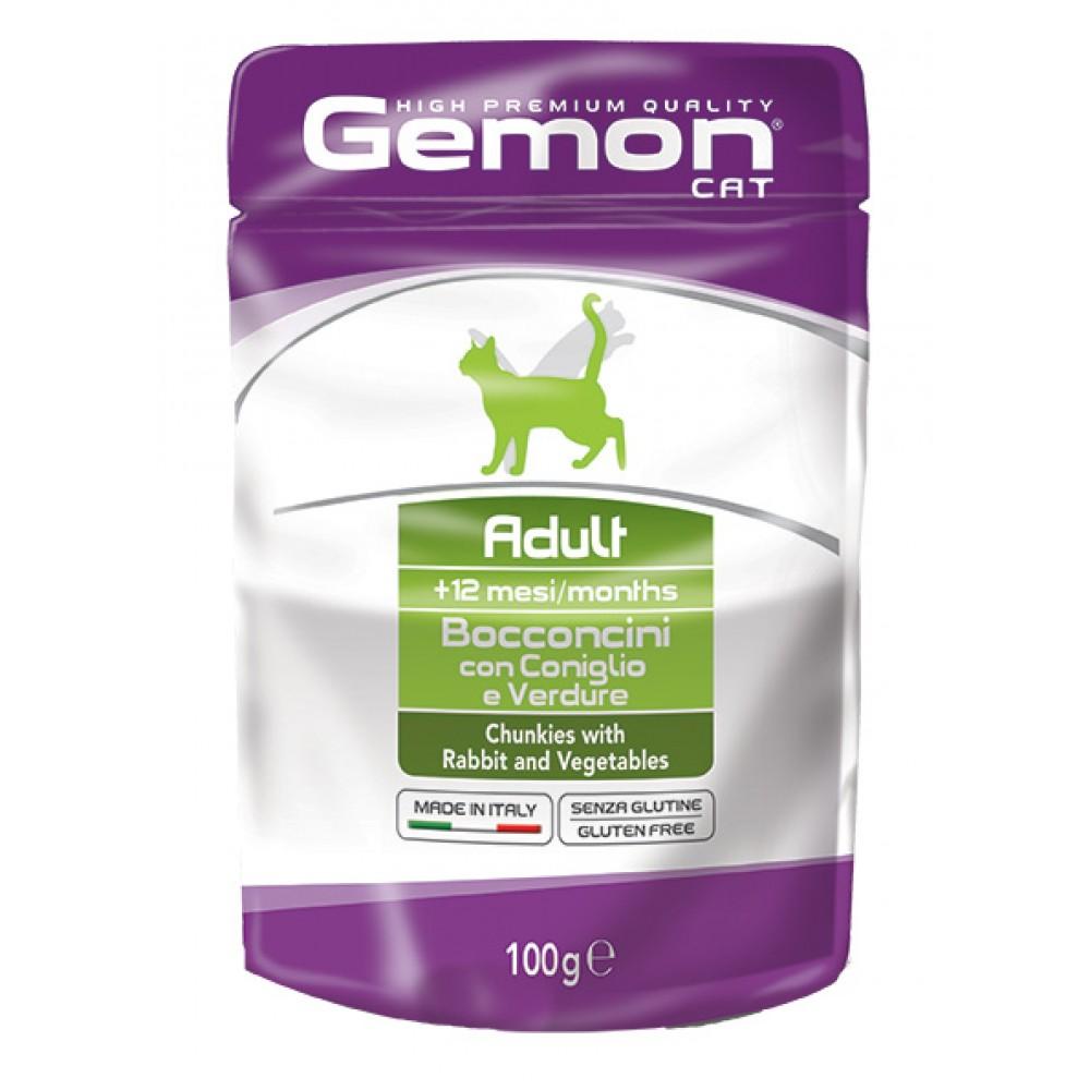 Gemon Cat Pouch Adult,кусочки для кошек с кроликом и овощами,пауч 100 гр.