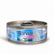 Monge Delicate Cat Cans,влажный корм для кошек с кальмаром,банка 80 гр.