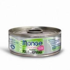 Monge Delicate Cat Cans,влажный корм для кошек с курицей и спаржей,банка 80 гр.