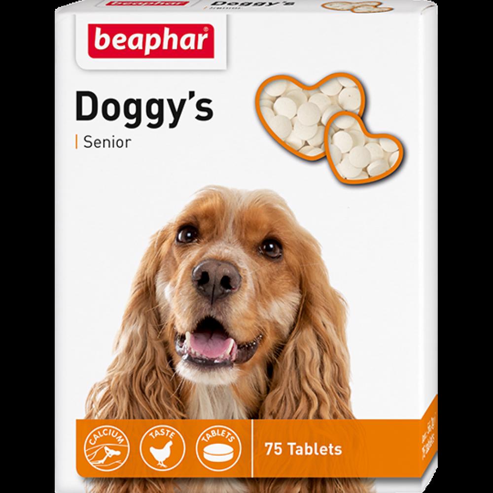 Beaphar Doggy's Senior,витаминизированное лакомство для собак старше 7 лет,75 таблеток