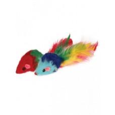 Мышь-попугай,цветные перья,7 см.