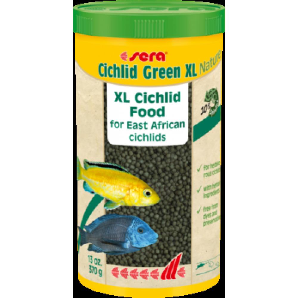 Sera Cichlid Green XL,корм для крупных,травоядных,а также кормящих цихлид и других крупных рыб,уп.25 гр.