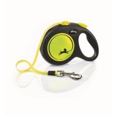Flexi New Neon M, поводок-рулетка желтая, для собак до 25 кг., ремень 5м