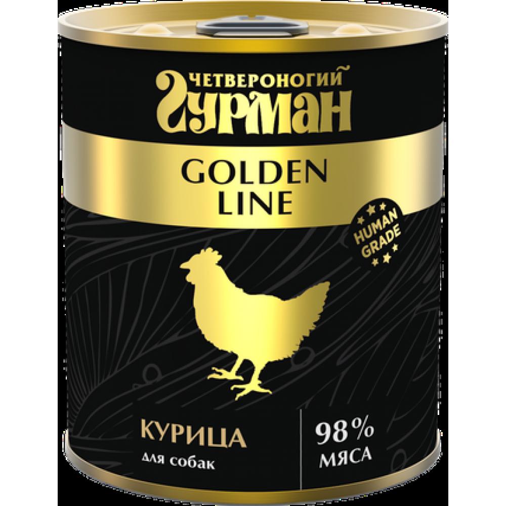 Четвероногий Гурман Голден, Курица натуральная в желе для собак, банка 340гр.