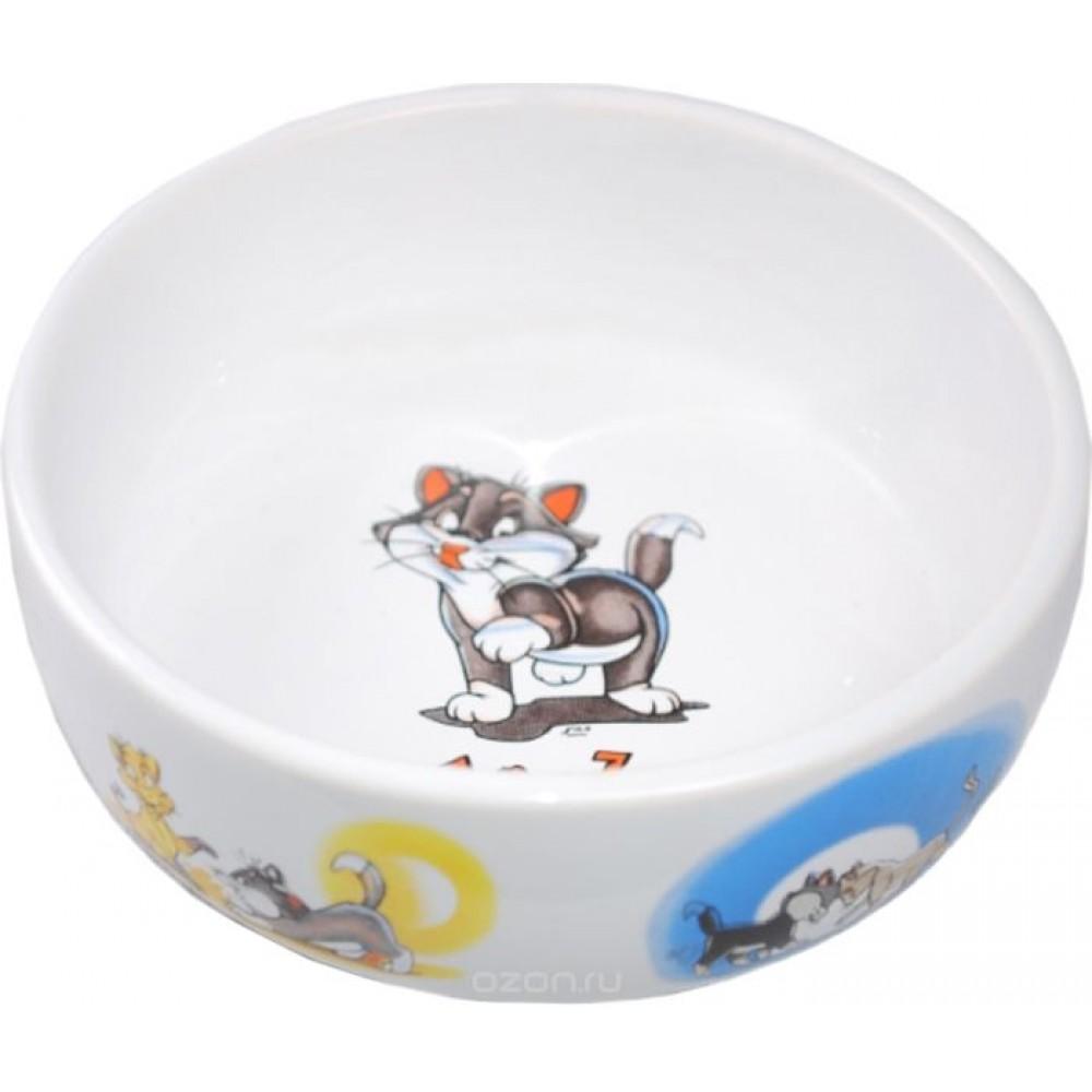 ЕвроПродукт №1,миска керамическая,с рисунками котов,13,4*4 см.