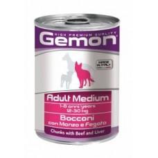 Gemon Dog Medium Adult,кусочки говядины с печенью для средних пород собак,банка 415 гр.