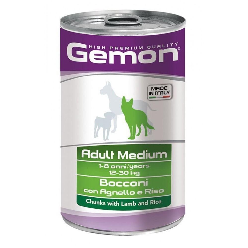 Gemon Dog Medium Adult,консервы для собак средних пород кусочки ягненка с рисом,банка 1250 гр.