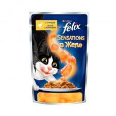 Felix Sensation,кусочки с курицей и морковью в желе для кошек,пауч 85 гр.