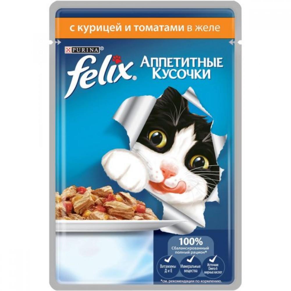 Felix,кусочки с курицей и томатом для кошек,пауч 85 гр.