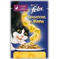 Felix Sensation,кусочки с уткой и шпинатом в желе для кошек,пауч 85 гр.