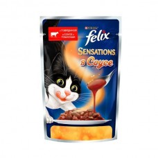 Felix Sensation,кусочки с говядиной и томатом в желе для кошек,пауч 85 гр.