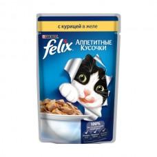 Felix,кусочки с курицей в желе для кошек,пауч 85гр
