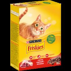 Friskies,сухой корм для кошек, мясное ассорти: мясо,курица,печень,уп.400гр.