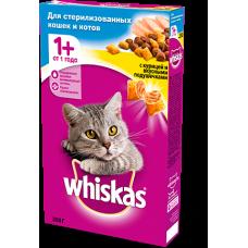Whiskas,сухой корм для кошек подушечки с курицей для стерилизованных кошек,уп.350 гр.