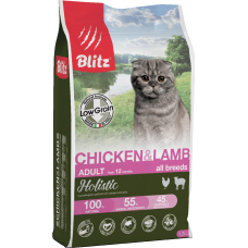 Blitz Holistic Chicken&Lamb Cat,низкозерновой корм для взрослых кошек с курицей и ягненком,уп.400 гр.
