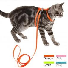Ошейник+Поводок для кошек,оранажевый,1,2 м.