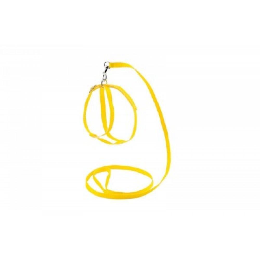 Ошейник+Поводок для кошек,желтый,1,2 м.