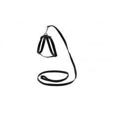 Ошейник+Поводок для кошек,черный,1,2 м.