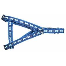 ЕвроПродукт УЮТ,шлейка 1,6х30--51 см.,синяя рисунок косточки,двойная с тесьмой.