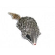 Триол,мышь серая с пищалкой, игрушка для кошек,10 см.