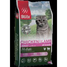 Blitz Holistic Chicken&Lamb Cat,низкозерновой корм для взрослых кошек с курицей и ягненком,уп.5 кг.