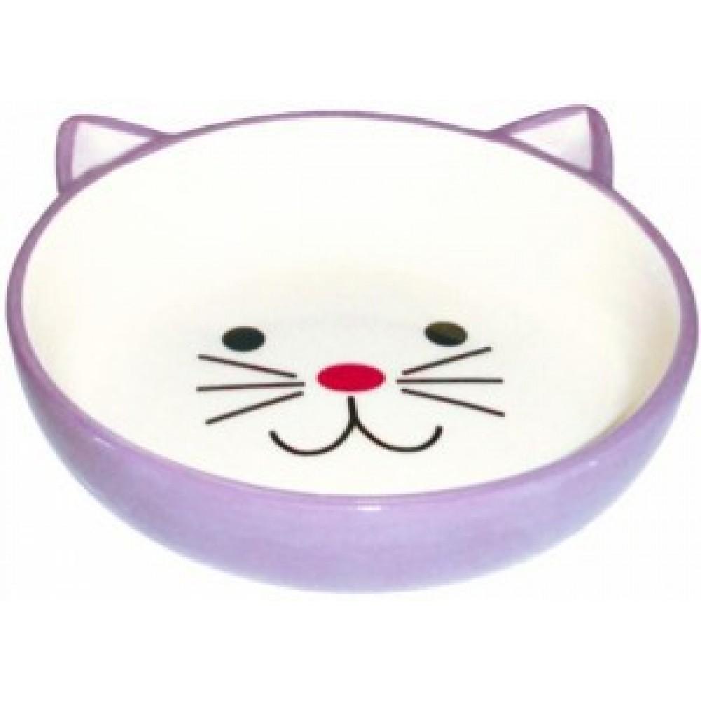 ЕвроПродукт №1,миска керамическая,фиолетовая,в форме мордочки кошки,12,5*4 см.
