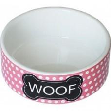 ЕвроПродукт №1,бело-розовая миска,керамическая,для кошек и собак,12.5*5 см.
