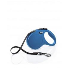 Flexi Classic L,рулетка-ремень, синяя,для собак до 50 кг.,лента 5 м.