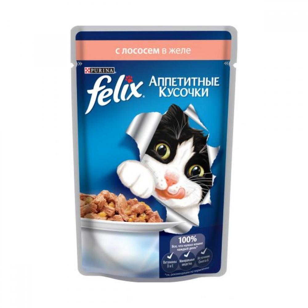 Felix,кусочки с лососем в желе для кошек,пауч 85гр.
