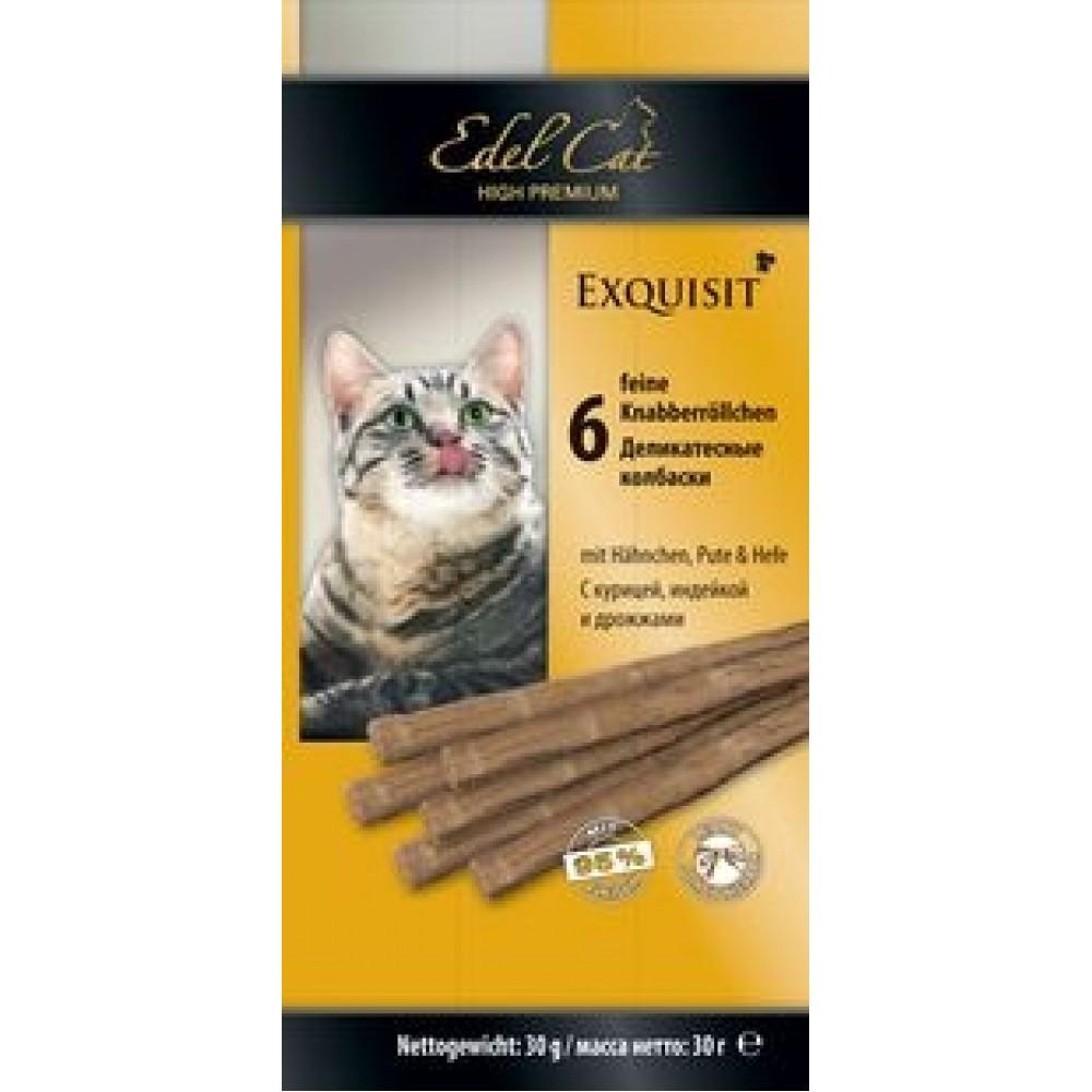 Edel Cat,колбаски курица+индейка+дрожжи,лакомство для кошек,уп.6 шт.